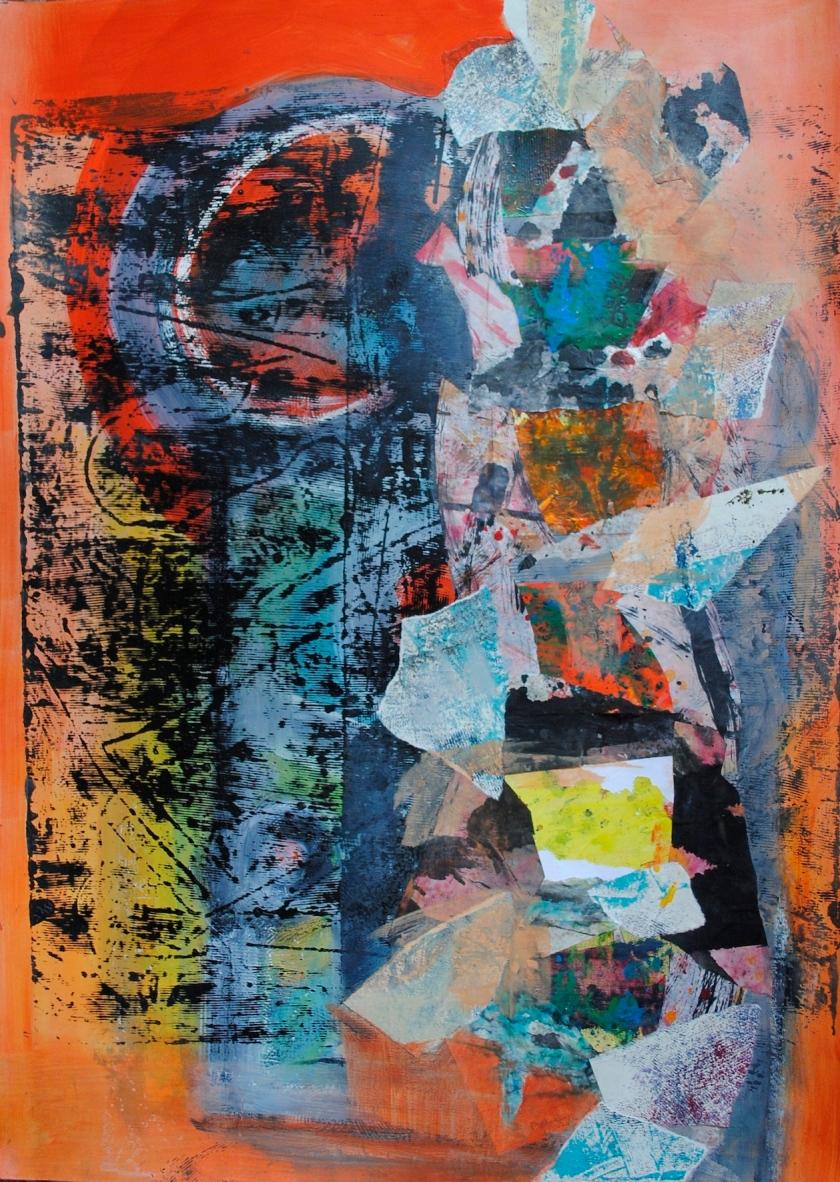 Viviane Beaufumé-les dessous des cartes -100x70 - acrylique et collage