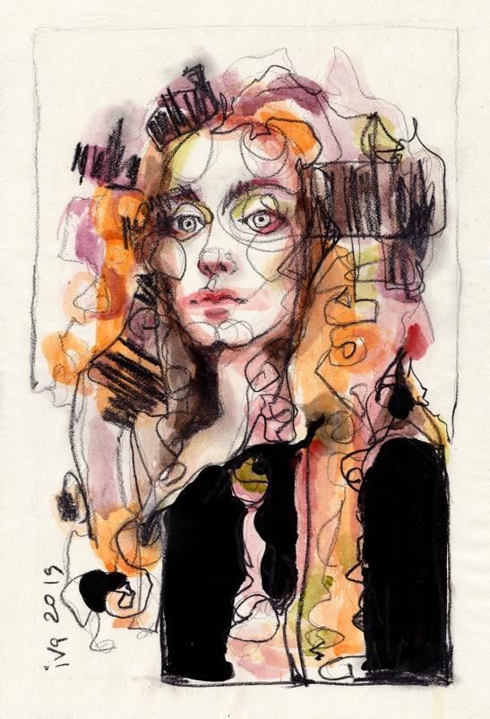 1.Ivchenkova_Ariane _encre,aquarelle,pierre noire sur papier_55x37cm